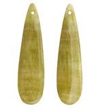 Yellow Calcite Thin Teardrop Pendant Pair 12x46mm