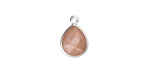 Peach Moonstone Faceted Teardrop Pendant in Silver Finish Bezel 10x14mm