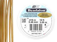 "Beadalon Satin Gold .018"" 49 Strand Wire 10ft."