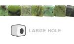 China Chrysoprase Cube (Large Hole) 6mm