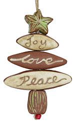 Gaea Ceramic Joy, Love, Peace Star Ornament Bundle