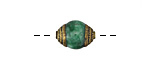 Tibetan Small Green Jade (dyed) & Brass Bead 14x10mm