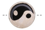 Tibetan (Dzi) Agate Black Yin-Yang Focal 30mm