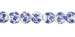 Blue Floral Print Porcelain Tumbled Rondelle 7x8mm