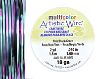 Artistic Wire MultiColor Pink/Black/Green 18 Gauge, 2 Yards