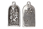 Green Girl Pewter Fairy Village Pendant 18x36mm