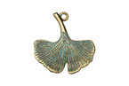 Zola Elements Patina Green Brass Ginko Leaf Charm 24mm
