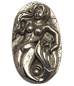 Golden Pyrite (silver tone) Carved Mermaid Pendant 34x58mm