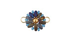 Iris Blue Hand Woven Flower Focal Link 20x14mm