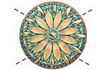Czech Glass Turquoise w/ Metallic Gold Daisy Button 31mm