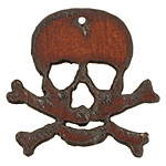 The Lipstick Ranch Rusted Iron Skull & Crossbones Pendant 46x43mm