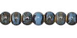 Black & Blue w/ Speckles Banded Porcelain Tumbled Rondelle 7x10mm