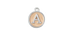 "Angel Skin Pink Enamel Silver Finish Initial Coin Charm ""A"" 12x14mm"