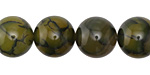 Olive Fire Agate Round 14mm
