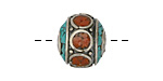 Tibetan White Brass w/ Orange Coral & Turquoise Mosaic Rondelle Bead 15x17mm