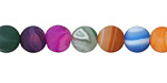 Jewel Tone Mix Line Agate (matte) Round 8mm