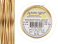 Artistic Wire Tarnish Resistant Brass 18 gauge, 10 yards