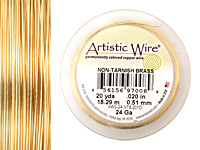 Artistic Wire Tarnish Resistant Brass 24 gauge, 20 yards