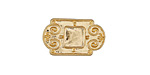 Zola Elements Matte Gold (plated) Scrollwork Bezel Rectangular 5mm Flat Cord Slide 21x13mm