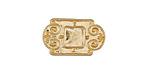 Zola Elements Matte Gold (plated) Scrollwork Bezel Rectangular 5mm Flat Cord Slide 21x13mm