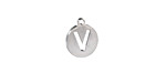 """Stainless Steel Initial Coin Charm """"V"""" 10x12mm"""
