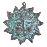 Greek Copper (plated) Patina Sun Face Focal 51x53mm