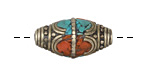 Tibetan White Brass Rice Bead w/ Orange Coral & Turquoise Mosaic 26-30x13-14mm