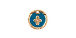 Zola Elements Peacock Enamel Matte Gold Finish Cross Coin Focal 13mm