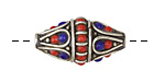 Tibetan White Brass w/ Lapis & Coral Rice Bead 28-32x15mm