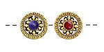 Antique Gold (plated) Tibetan Style Coin Bead w/ Red & Blue Center 13.5mm