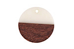 Wood & Alabaster Resin Coin Focal 25mm