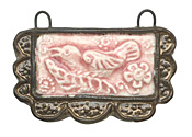 Gaea Ceramic Lace Bordered Raven in Blush Pendant 50x29mm