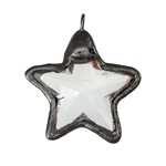 Crystal Star w/ Gunmetal Finish Drop Pendant 35x40mm