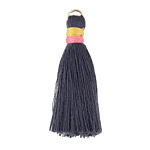 Navy Blue w/ Pink and Marigold Binding & Jump Ring Thread Tassel 41mm