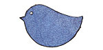 Lillypilly Denim Blue Leather Large Left Facing Chickadee 21x32mm