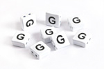 "White Enamel 2-Hole Tile Square Bead w/ Letter ""G"" 8mm"