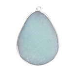 Amazonite Freeform Teardrop Silver Wrapped Pendant 21-30x39-50mm