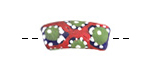 African Hand-Painted in Red/Green/White on Cobalt Powder Glass (Krobo) Bead 18-24x10-11mm