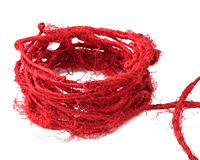 Red Recycled 100% Silk Sari Yarn