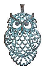 Greek Copper Patina Filigree Owl Pendant 41x68mm