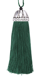 Zola Elements Forest Green Thread Tassel w/ Antique Silver (plated) Lotus Tassel Cap 20x75mm