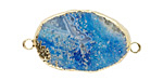 Sky Blue Line Agate Freeform Link w/ Gold (plated) Edge & Loops 30-45x21-32mm