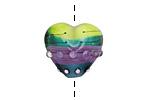 Grace Lampwork Begonia Stripes Heart 19-20mm