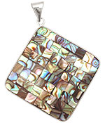 Abalone Mosaic 2-Sided Wrapped w/ Bail Diamond Pendant 47x59mm
