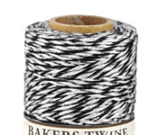 Black/White & Metallic Silver Bakers Twine 2 ply, 410 ft
