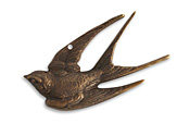 Vintaj Natural Brass Diving Sparrow Pendant 45x22mm