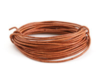 Natural Light Brown Round Leather Cord 1.5mm, 32 feet