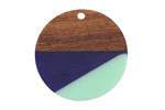 Walnut Wood & Nautical Resin Coin Focal 28mm