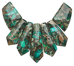 Emerald Impression Jasper & Pyrite Pendant Set 20-45mm