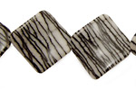 Black Water Jasper Wavy Diamond 25mm